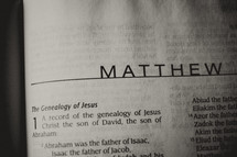 Open Bible in book of Matthew