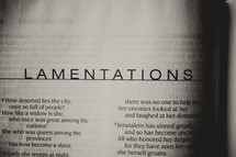 Open Bible in book of Lamentations