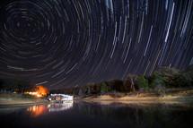 swirling stars in a night sky