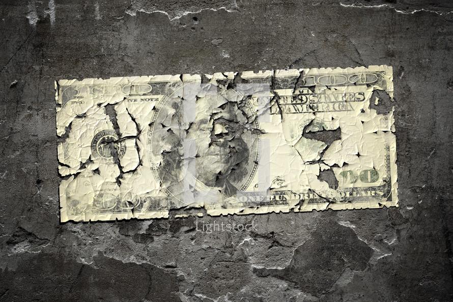 worn one hundred dollar bill