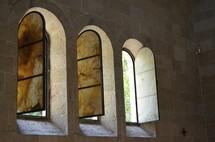 Church windows with Byzantine architecture