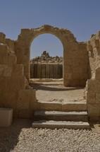 Excavated arched doorway at Avdat