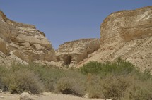 Natural caves in the Nahal Zin Canyon
