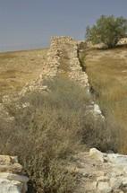 Excavated wall at tel Arad