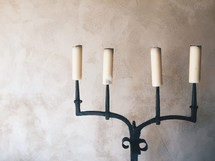 candles on a medieval candelabra