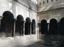 columns lining a courtyard