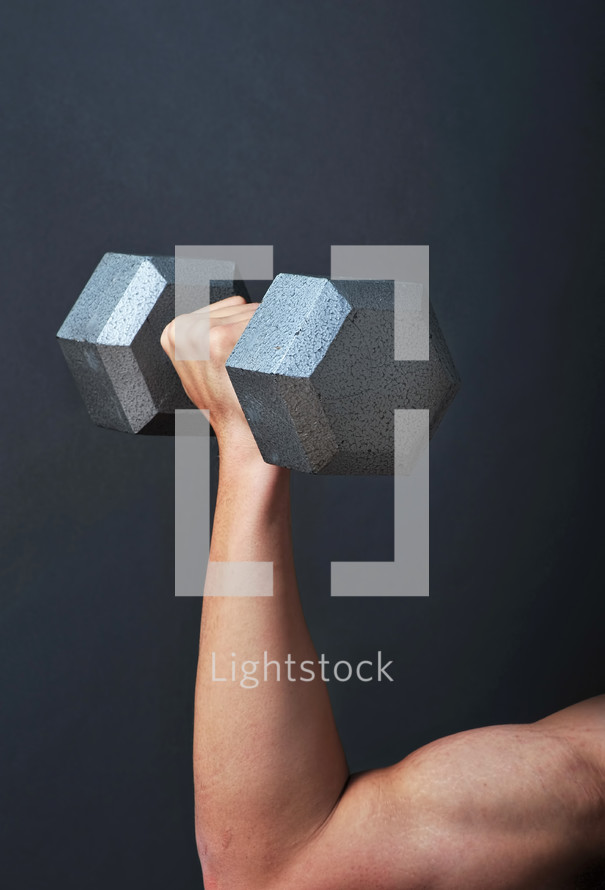 Strong arm weight lifting.