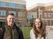 a young couple on campus