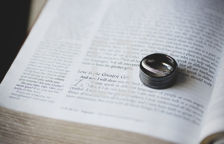 Wedding bands resting on the pages of a Bible