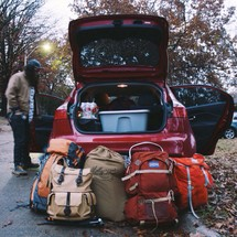 packing a car for a camping trip