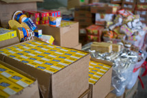 boxes of food in a food pantry