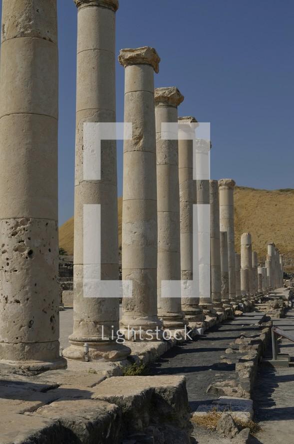 Excavated Roman columns at Beth-Shean