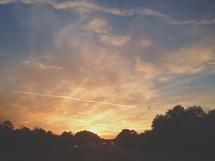 sun setting behind tree line