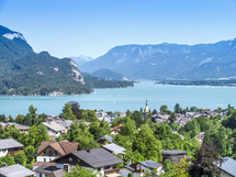 view of a homes along a lake shore in Austria