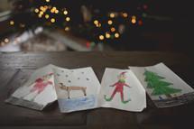 a child's Christmas artwork