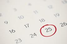 25th circled on a calendar