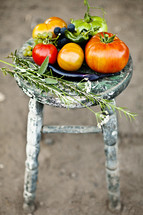 Fruits and vegetables on a stool garden fresh tomato