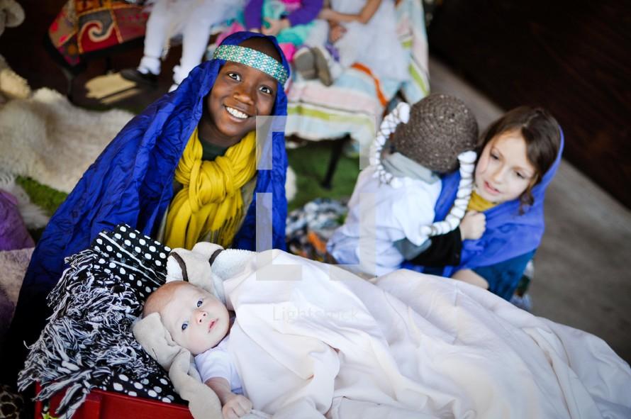 children in a live nativity scene