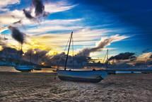 beached sail boats