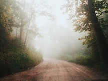 a rural dirt road on a foggy morning