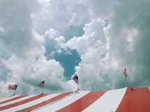 circus tent with American flags