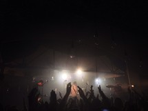 Silhouette of raised hands at a music concert.