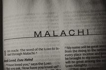 Open Bible in book of Malachi