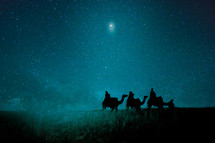 wisemen traveling on camels under the stars