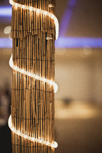 Bamboo pole with lights around it