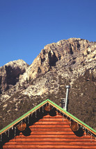 cabin roof and mountain peak