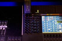 buttons and controls on a soundboard