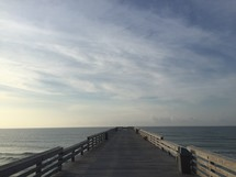 looking towards the end of a pier