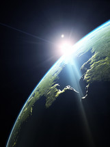 sunlight and  planet Earth