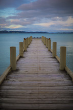 looking down a long pier