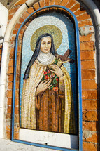 tile mosaic of Mary