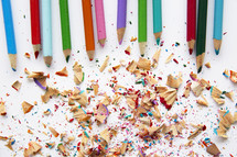 colored pencils and pencil shavings.