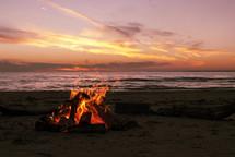 fire pit on a beach