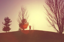 a hugging on top of a hill
