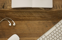 earbuds, mouse, keyboard, computer, desk, wood, journal, border, workspace, copy space