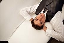 Man in suit relaxing