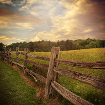 wood fence in the country