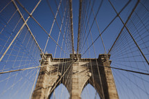 The suspension  wires of the Brooklyn Bridge