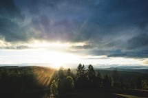 sunset over a ridge