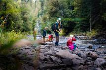 kids exploring a creek