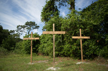 road side memorial - three crosses