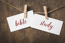 word Bible Study on card stock hanging on twine by a clothespin