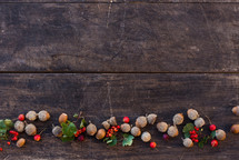 acorns and red berries on wood