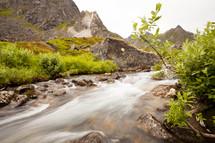 rushing water through a stream