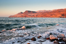 Sunset at the Dead Sea in Jordan.