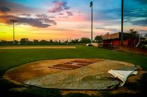 baseball field at sunset